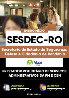 Apostila Digital em PDF da Secretaria de Estado da Segurança, Defesa e Cidadania de Rondônia - SESDEC-RO