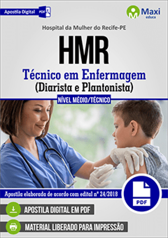 Capa - Apostila Digital em PDF do Hospital da Mulher do Recife-PE - HMR - Técnico em Enfermagem (Diarista e Plantonista)