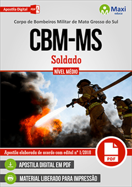 Capa - Apostila Digital em PDF da  Corpo de Bombeiros Militar de Mato Grosso do Sul - CBM-MS - Soldado