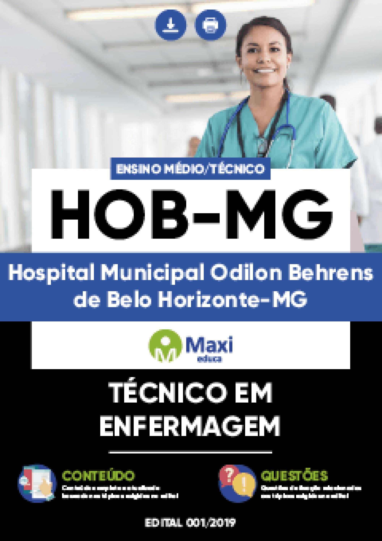 Capa - Apostila Digital em PDF do Hospital Municipal Odilon Behrens de Belo Horizonte-MG - HOB-MG - Técnico em Enfermagem
