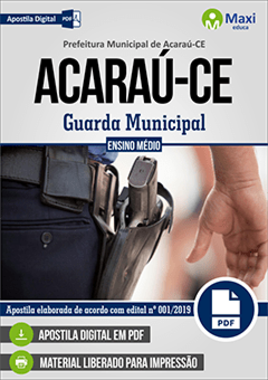 Capa - Apostila Digital em PDF da Prefeitura de Acaraú-CE - Guarda Municipal