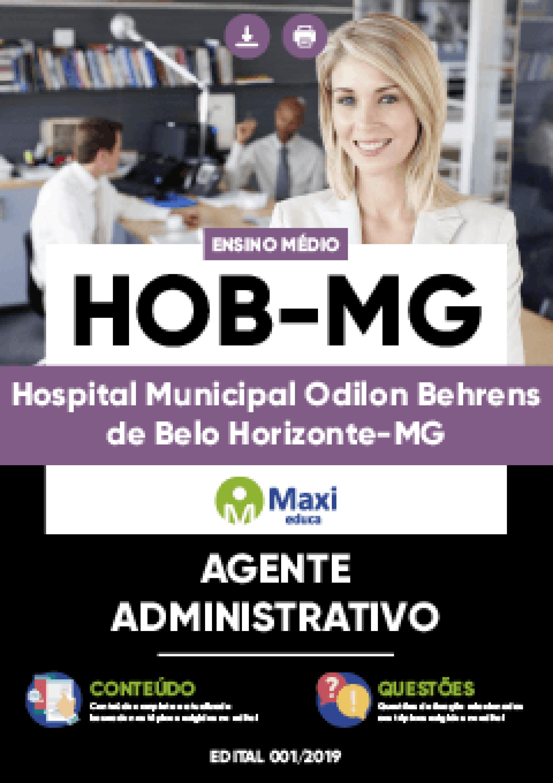 Capa - Apostila Digital em PDF do Hospital Municipal Odilon Behrens de Belo Horizonte-MG - HOB-MG - Agente Administrativo