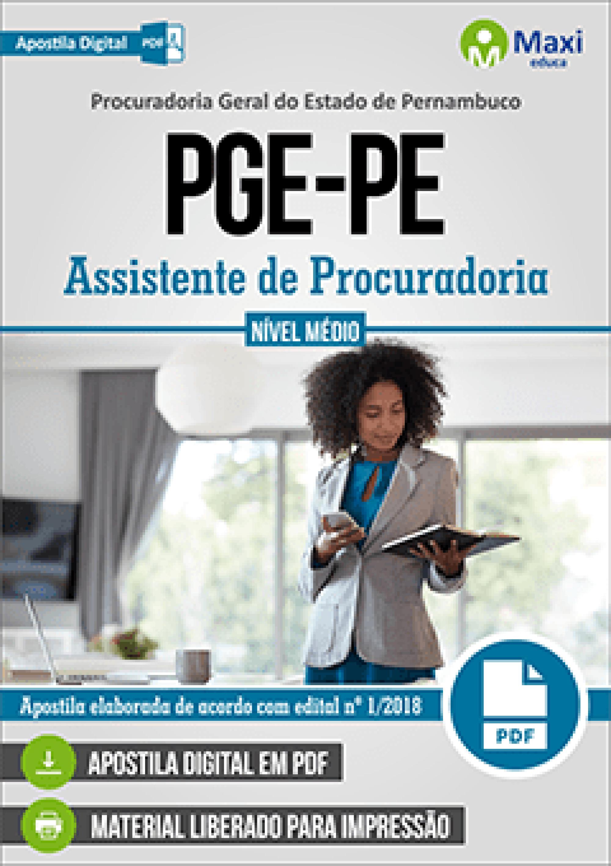 Capa - Apostila Digital em PDF da Procuradoria Geral do Estado de Pernambuco - PGE-PE - Assistente de Procuradoria