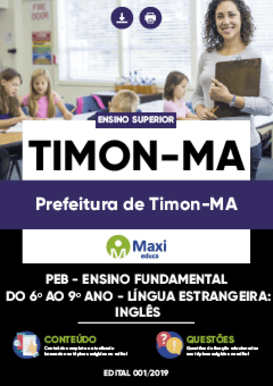 Capa - Apostila Digital em PDF da Prefeitura de Timon-MA - PEB - Ensino Fundamental do 6º ao 9º ano - LÍNGUA ESTRANGEIRA:INGLÊS