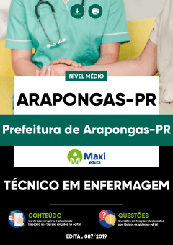 Capa - Apostila Digital em PDF da Prefeitura de Arapongas-PR - Técnico em Enfermagem