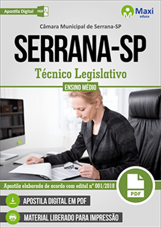 Capa - Apostila Digital em PDF da Câmara de Serrana-SP - Técnico Legislativo