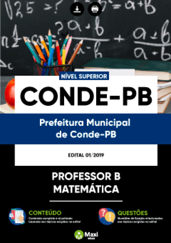 Capa - Apostila Digital em PDF da Prefeitura do Conde - PB - Professor B - Matemática