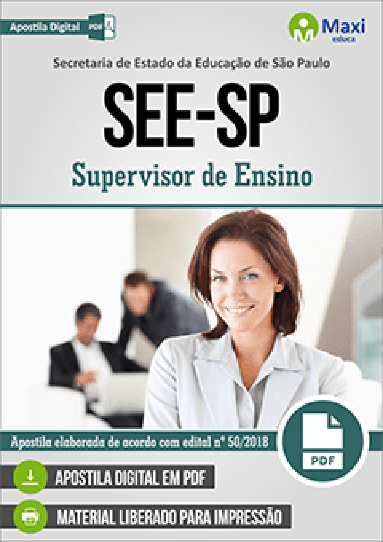 Capa - Apostila Digital em PDF da Secretaria de Estado da Educação de São Paulo - SEE-SP - Supervisor de Ensino