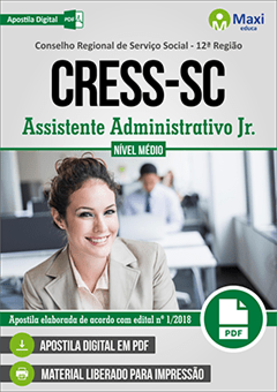 Capa - Apostila Digital em PDF do Conselho Regional de Serviço Social - 12ª Região - CRESS-SC - Assistente Administrativo Jr.