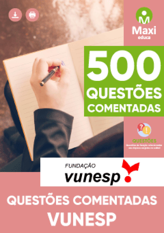 Capa - Caderno de questões - Questões comentadas Vunesp