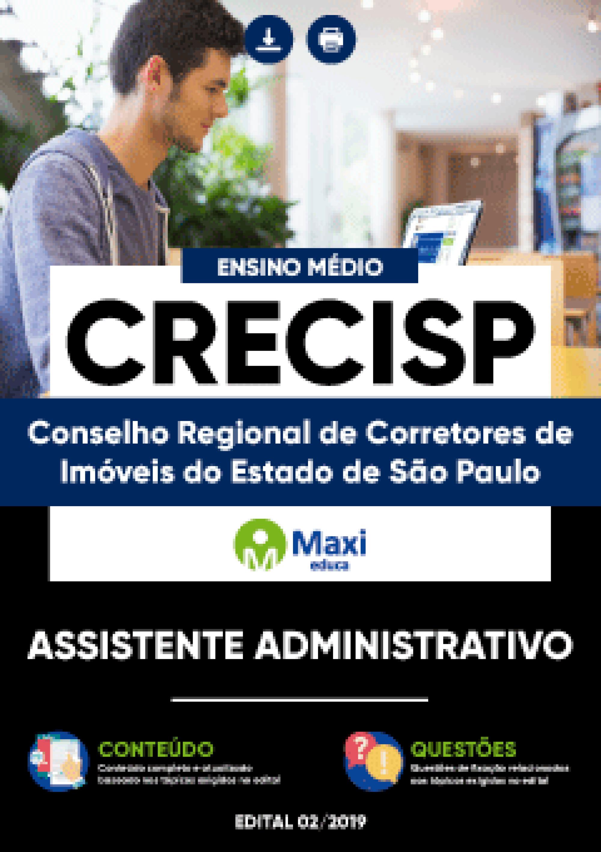 Capa - Apostila Digital em PDF do Conselho Regional de Corretores de Imóveis do Estado de São Paulo - CRECISP - Assistente Administrativo