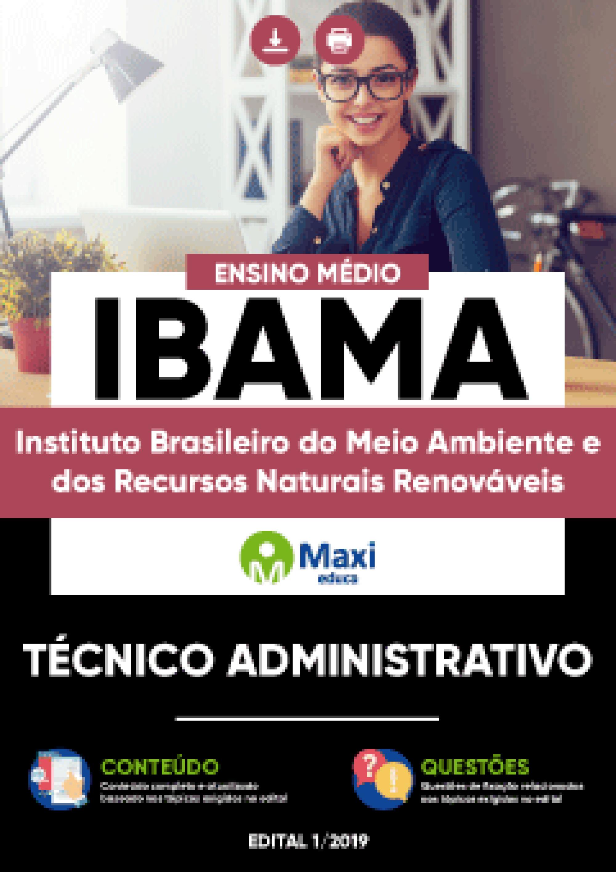 Capa - Apostila Preparatória Digital em PDF do Instituto Brasileiro do Meio Ambiente e dos Recursos Naturais Renováveis - IBAMA - Técnico Administrativo