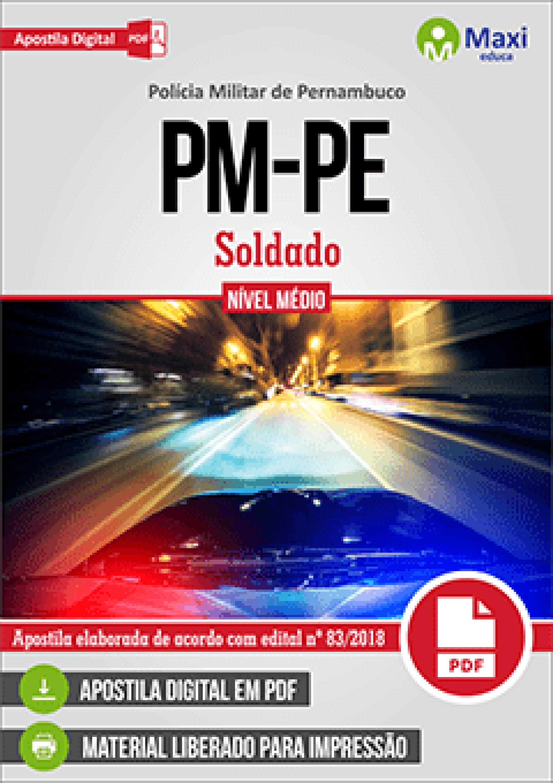 Capa - Apostila Digital em PDF da Polícia Militar de Pernambuco - PM-PE - Soldado