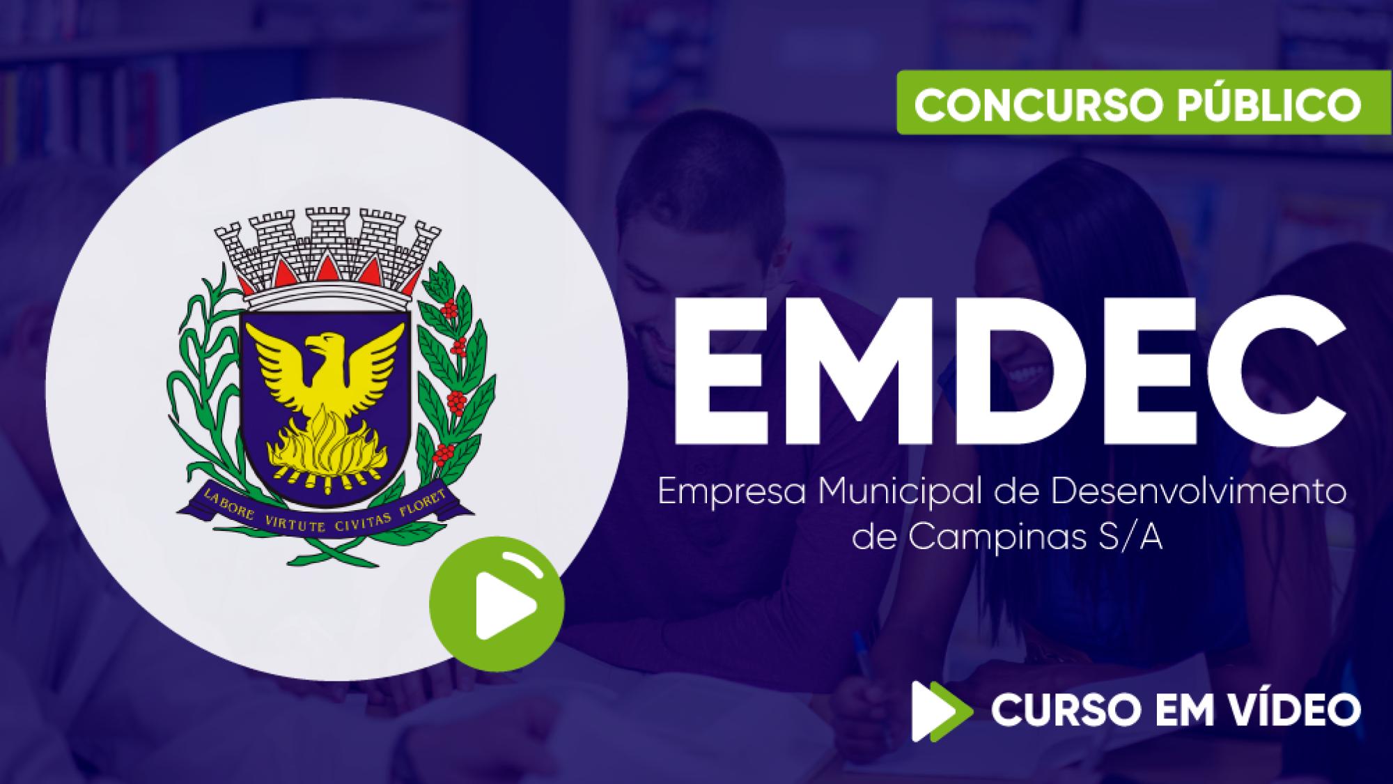 Capa - EMDEC - Empresa Municipal de Desenvolvimento de Campinas S/A - Assistente Administrativo Jr
