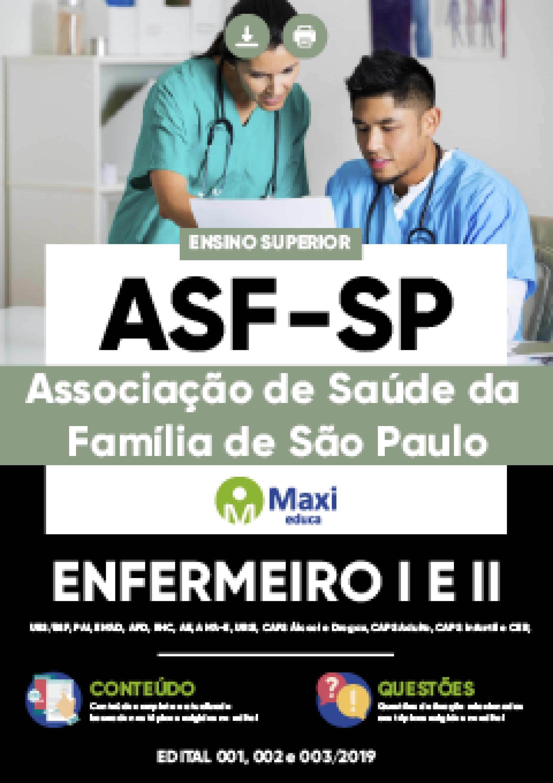 Capa - Apostila Digital em PDF da Associação de Saúde da Família de São Paulo - ASF-SP - Enfermeiro I e II