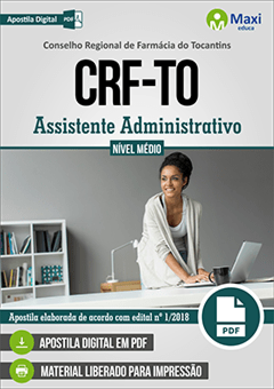 Capa - Apostila Digital em PDF do Conselho Regional de Farmácia do Tocantins - CRF-TO - Assistente Administrativo